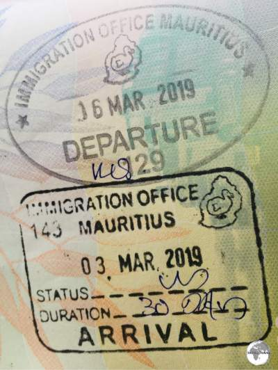 Arrival and Departure stamps from Mauritius.
