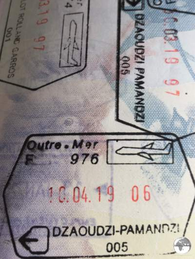 'Outre-Mer' entry and exit stamps from Mayotte.