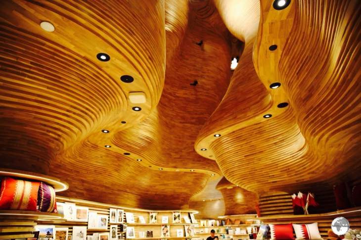 The striking wooden ceiling of the National Museum of Qatar gift shop was designed by an Australian architectural firm.