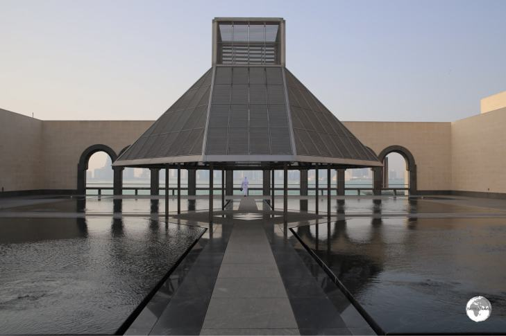 The exterior courtyard of the MIA includes arches and water features, both of which are central to Islamic design,