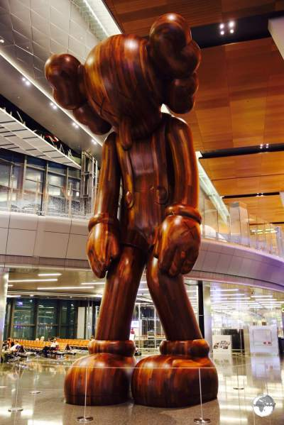 The latest artwork to be installed at HIA, the 32 feet tall 'Small Lie' is the work of American artist KAWS.