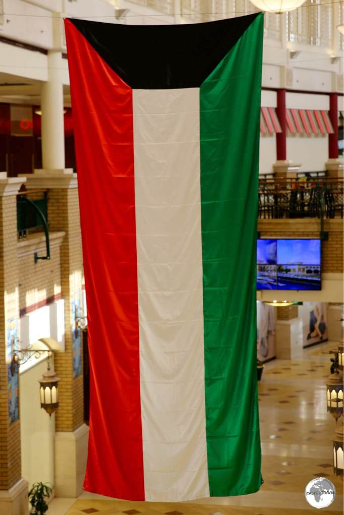 The Kuwaiti flag on display at Sharq Mall.