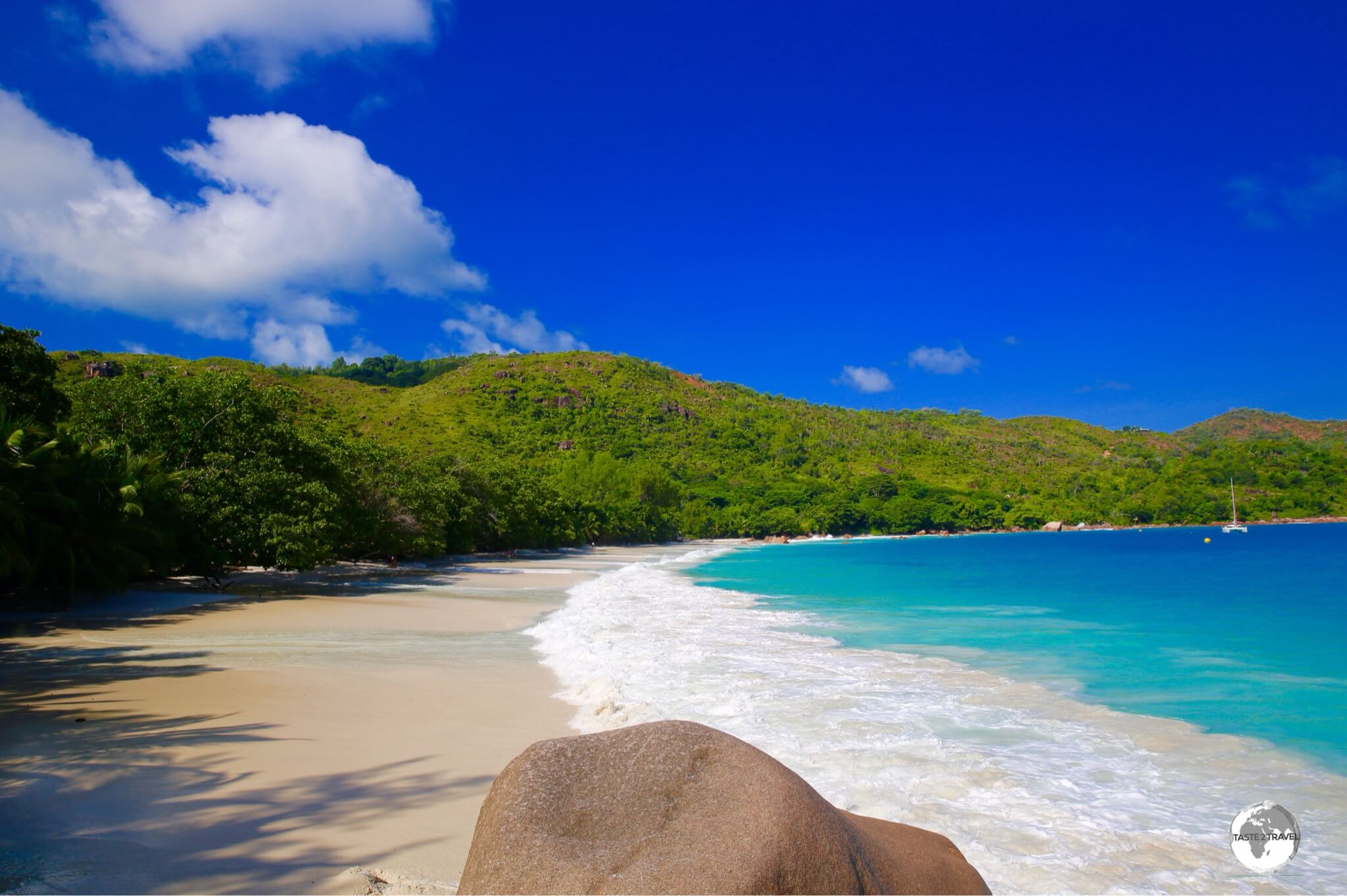 The best time to photograph Anse Lazio is in the early morning before the tourist hordes arrive.