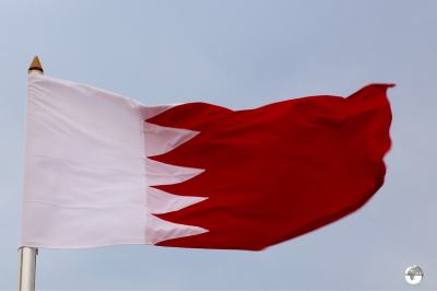 The flag of Bahrain is very similar to that of neighbouring Qatar.