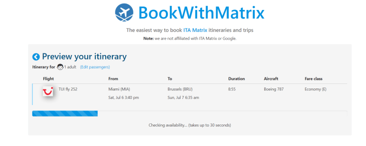 'Book With Matrix' converting the booking code from the ITA Matrix.