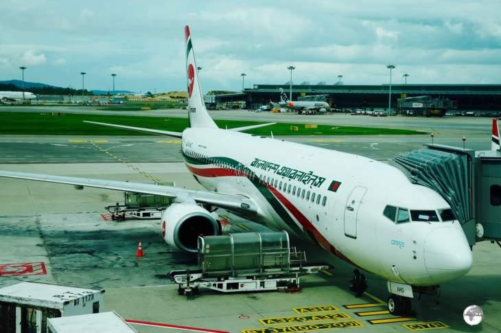 Ready to board my Biman Bangladesh flight at Changi airport, Singapore.