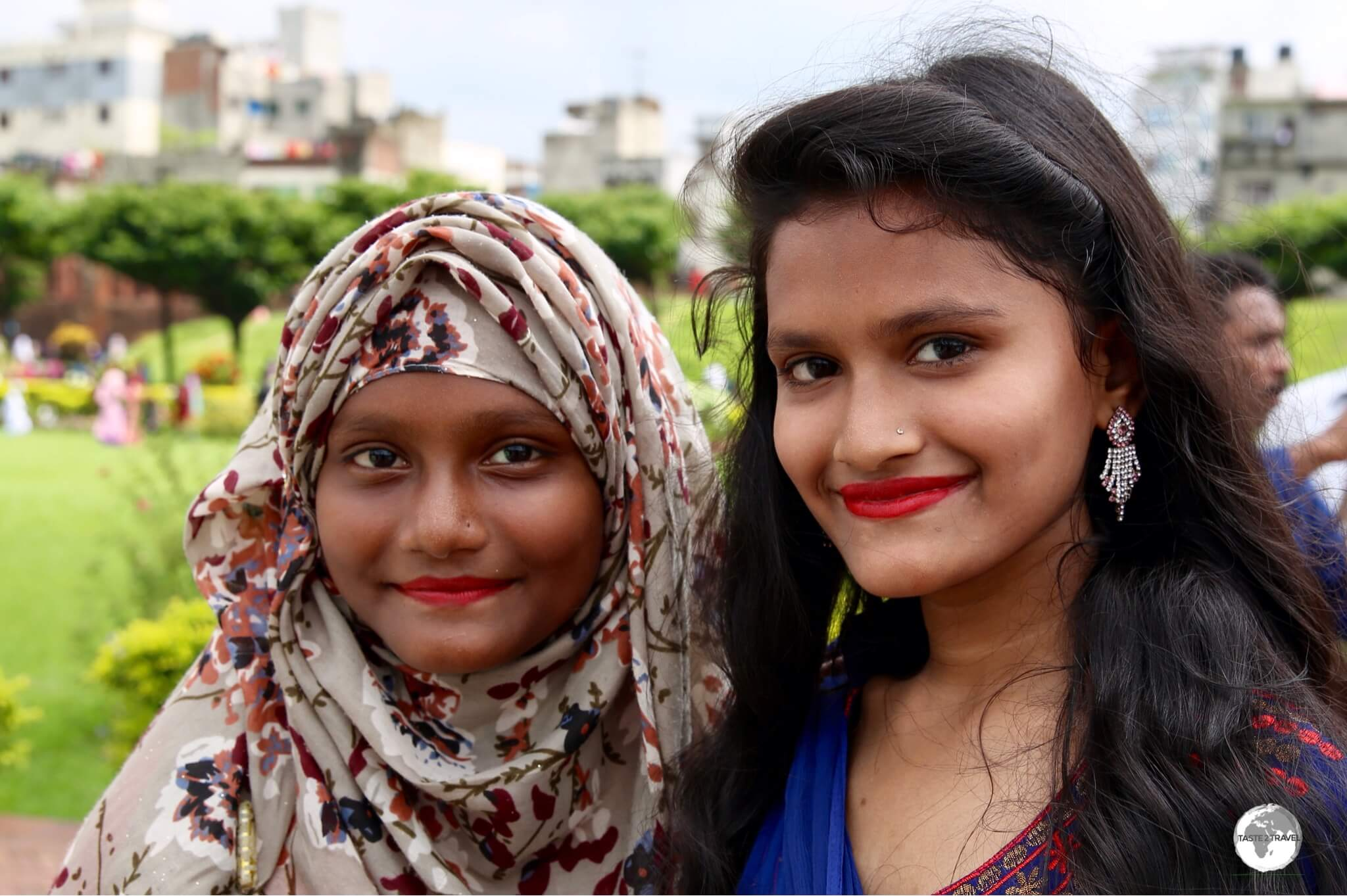 Two local girls enjoying a day out at Lalbagh Fort during the 'Eid al-Fitr' three-day holiday.