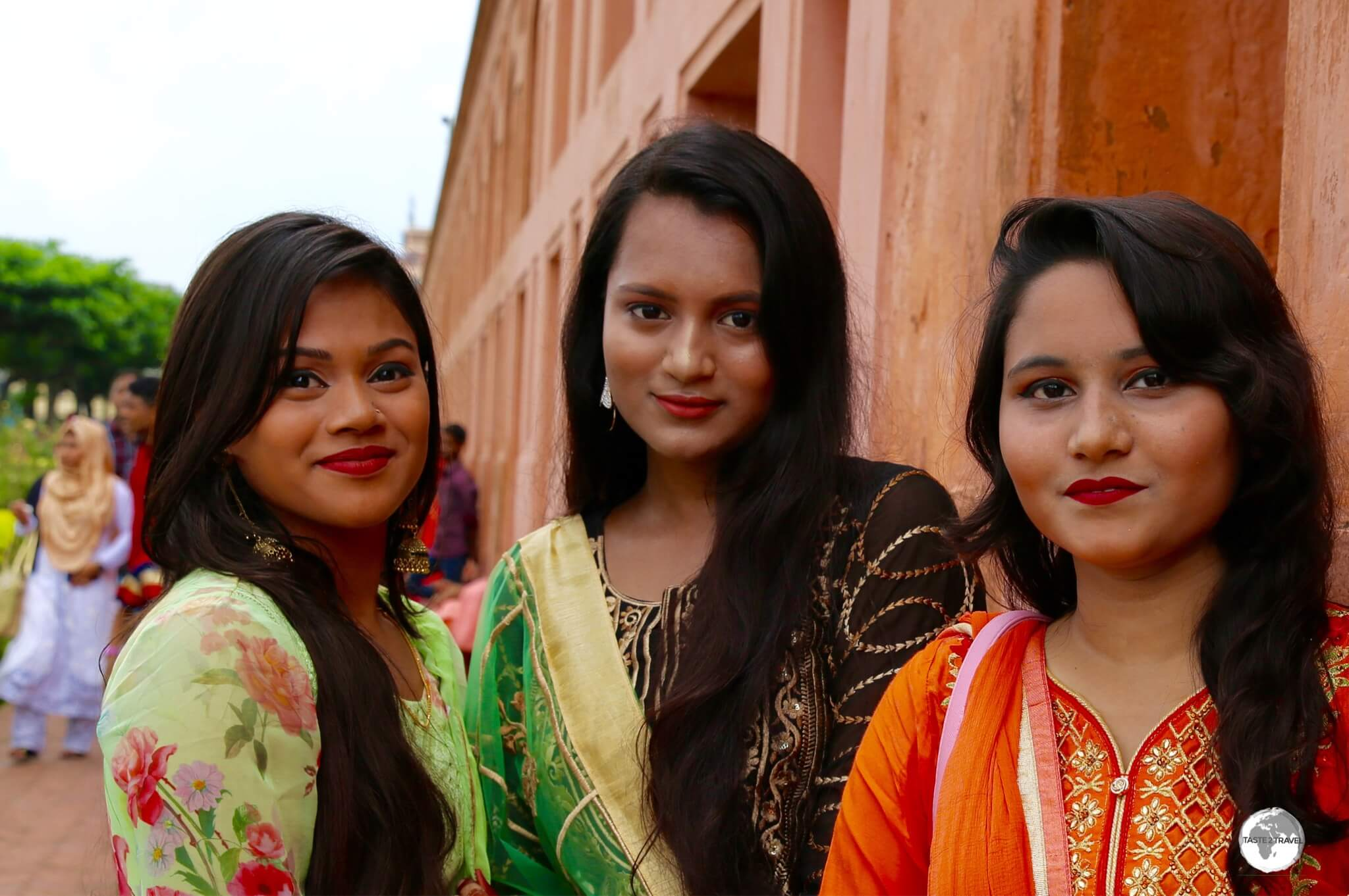 Bangladeshi girls looking resplendent in their colourful Shalwar Kameez at Lalbagh fort.