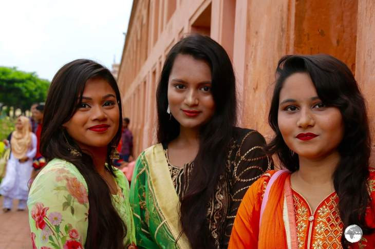 Bangladeshi girls looking resplendent in their Salwar Kameez at Lalbagh fort.