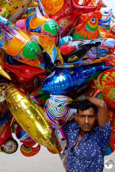 A balloon seller in Old Dhaka.