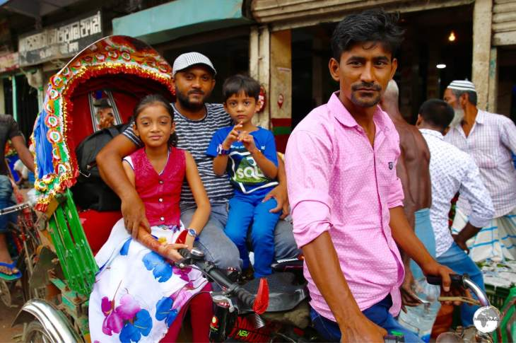 Despite looking like a relaxed scene, this photo was taken on a busy road which was jammed with cycle rickshaws.