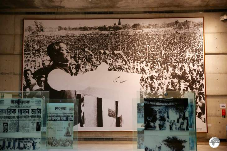 A display in the Museum of Independence shows the declaration of Independence made by Sheikh Mujibur Rahman on the sight of the present museum.