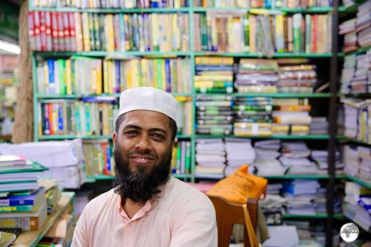 A seller of Islamic books at Bongo Bazar.