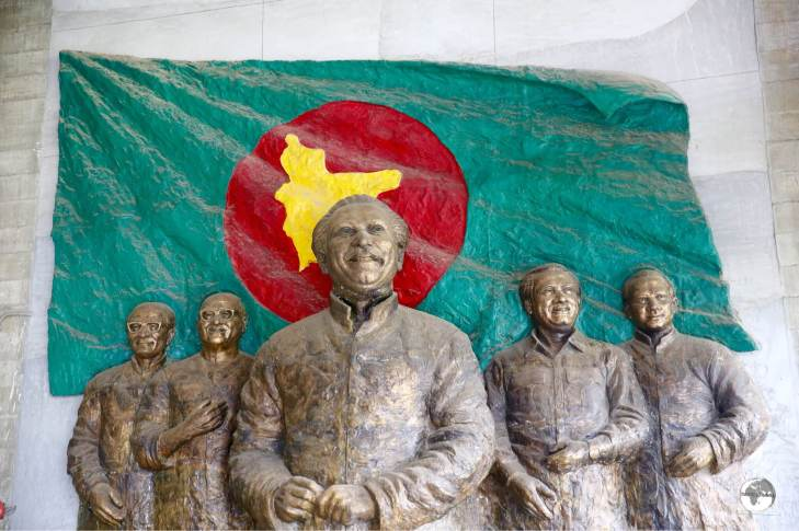 A mural at the Liberation War museum features the founding father of Bangladesh, Sheikh Mujibur Raman.