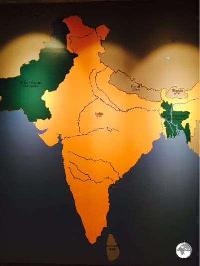 A map at the Liberation War Museum shows the position of Bangladesh (shaded green) to the east of India.