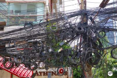 Spaghetti junctions - power cables in Dhaka.