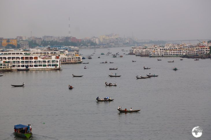 A view of the Buriganga River and the Sadarghat Boat Terminal, the busiest boat terminal in Bangladesh.