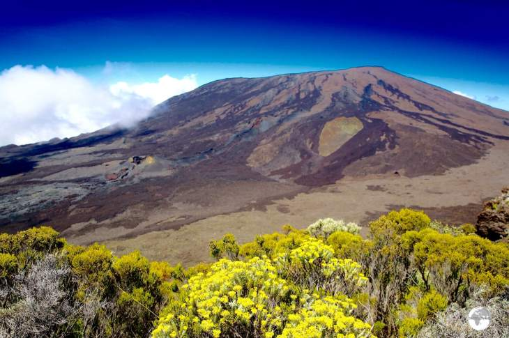 A view of the Piton de la Fournaise, one of the world's most active volcano's which erupted one month before my visit.
