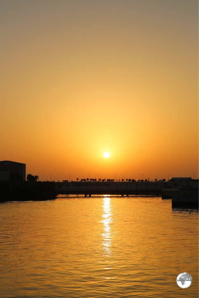 Sunset over Bahrain Bay.