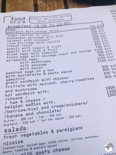 The breakfast menu at Nedelka Cafe in Almaty provides an example of typical restaurant prices.