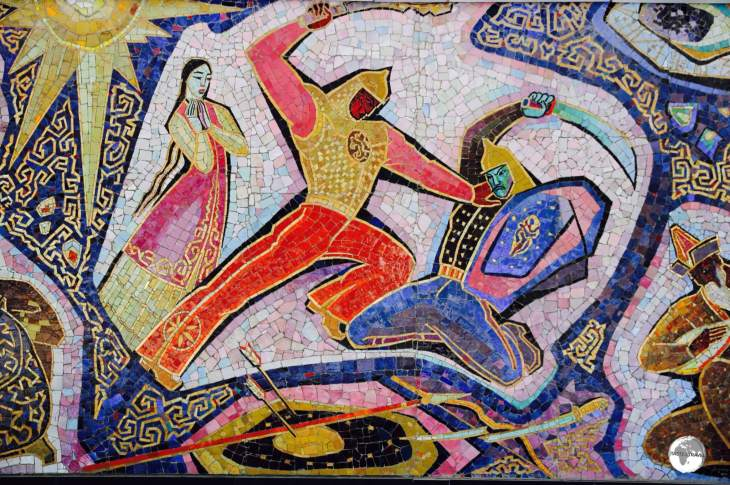 Adorning the wall of the Hotel Almaty, the 'Enlik-Kebek' mosaic tells a Kazakh folk tale of star-crossed lovers.