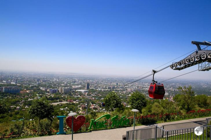 Panoramic views of Almaty from the Kok Tobe cable car station.
