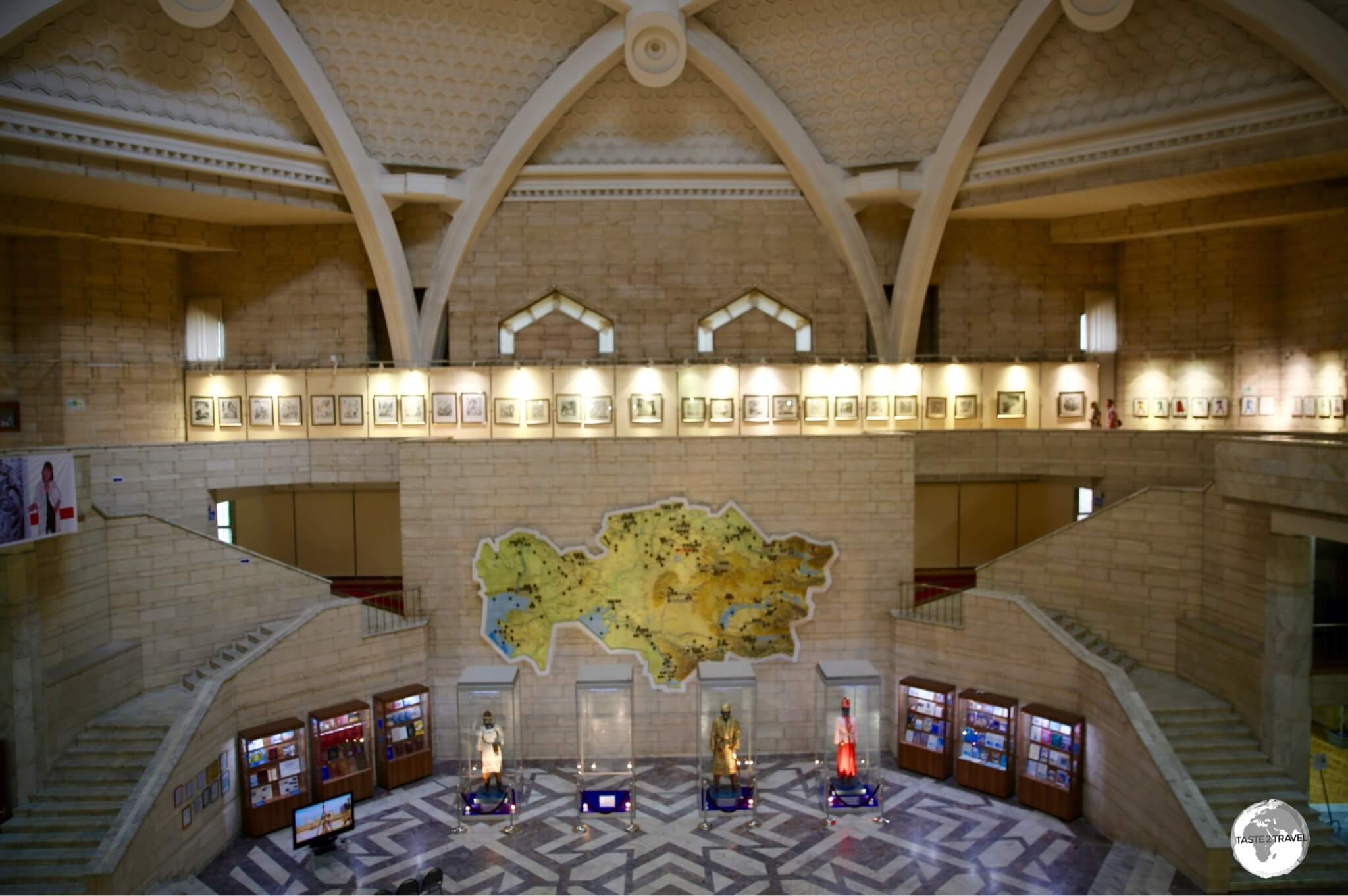 The lofty lobby of the Central State Museum of Kazakhstan.