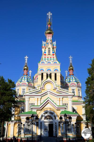 The incredibly beautiful Ascension Cathedral, which is located in the centre of Panfilov park.