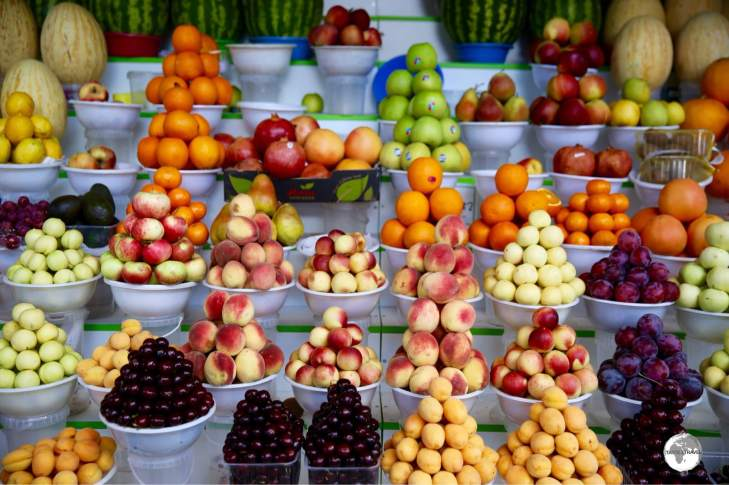 Fruit in Kazakhstan is locally grown on family farms, tastes amazing and is very affordable.