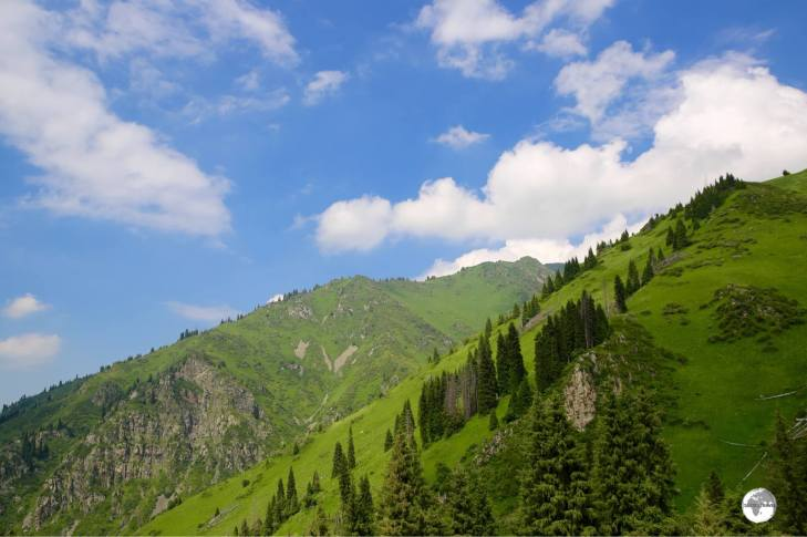 Views of the alpine landscape from the Shymbulak cable car.