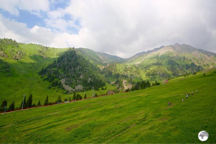 The stunning alpine countryside around the Shymbulak resort makes for ideal hiking during the summer months.
