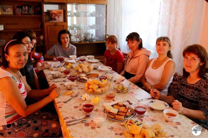 Breakfast time at my family home stay, which was shared with my fellow Kazakh tour members and house guests.