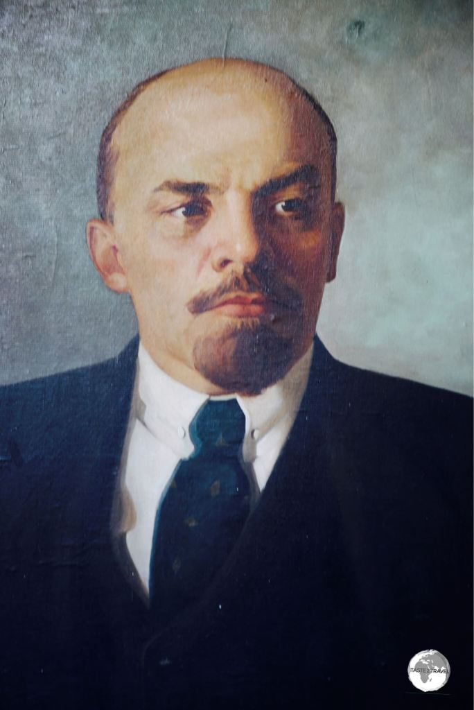 A portrait of Lenin, painted by an artist at an art market on Bishkek's Ala Too Square.