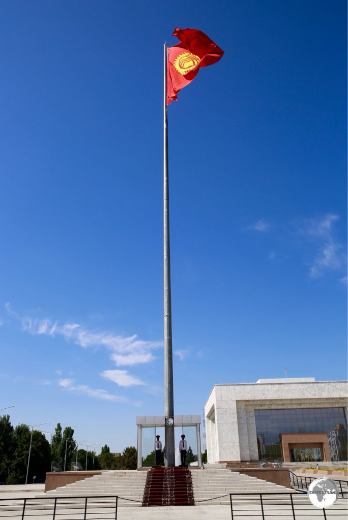 The flagpole on Bishkek's Ala-Too square is guarded during daylight hours.