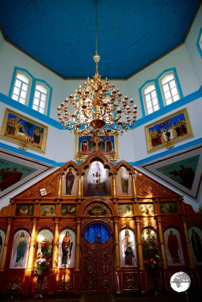 Interior of the Holy Trinity Cathedral in Karakol.