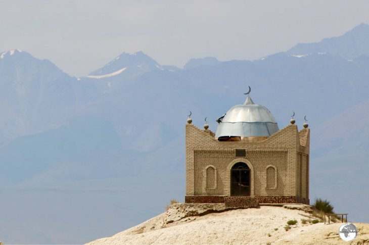A hilltop Islamic Tomb outside of Kochkor.