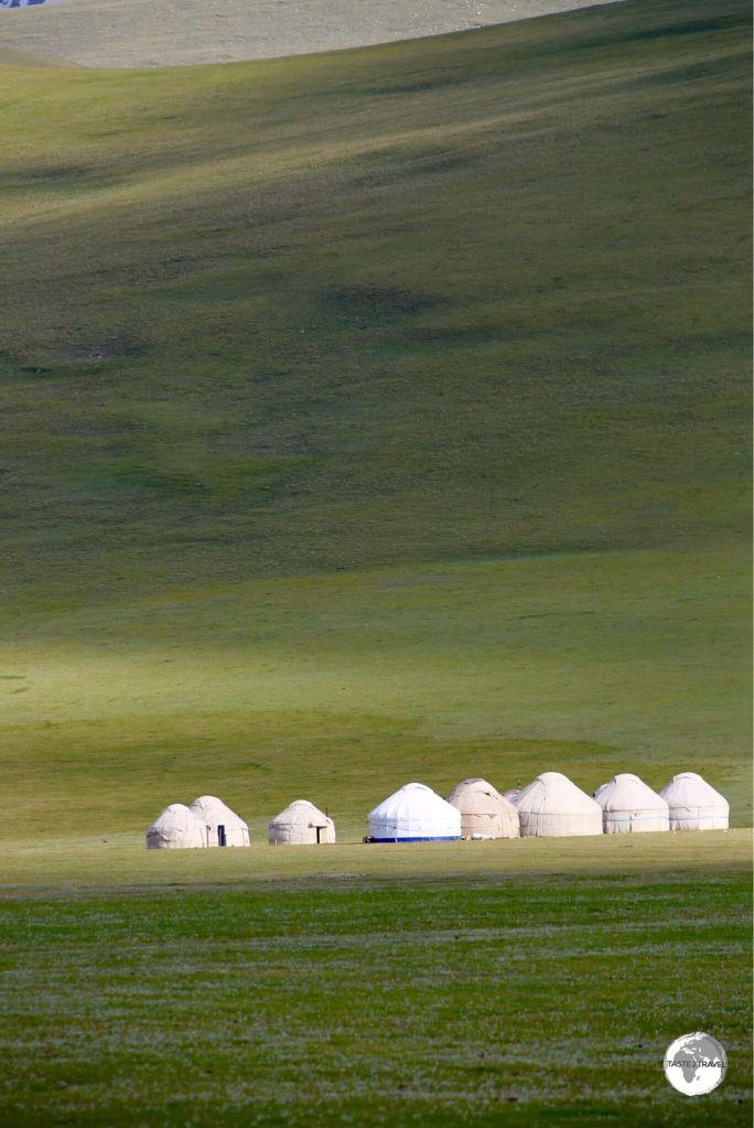 A yurt camp near lake Son-Kul.