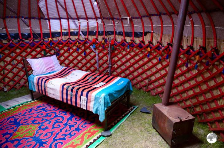 My colourful Yurt accommodation on lake Son-Kul. I was the only guest at the camp.