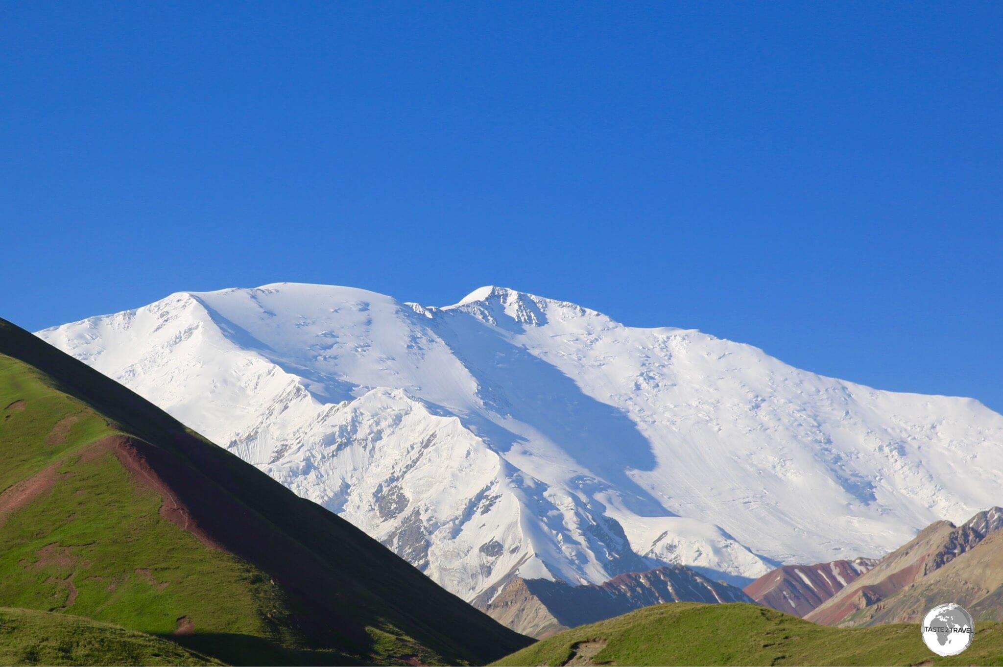 An early morning view of Lenin Peak (7,134 m / 23,406 ft) from the Lenin Peak Yurt camp.