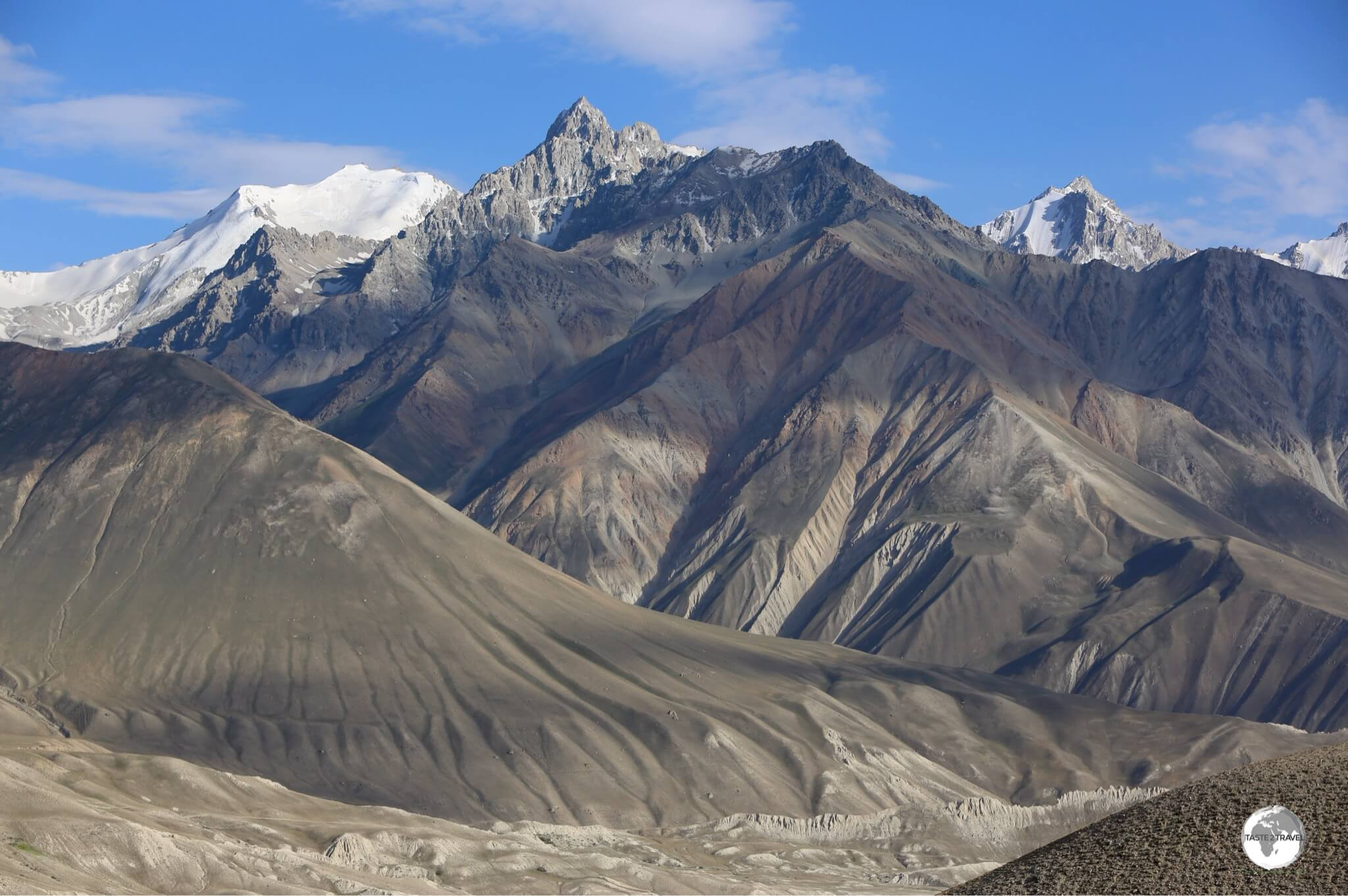 A view, from Tajikistan, of the soaring peaks of the Hindu Kush mountain range in neighbouring Afghanistan.