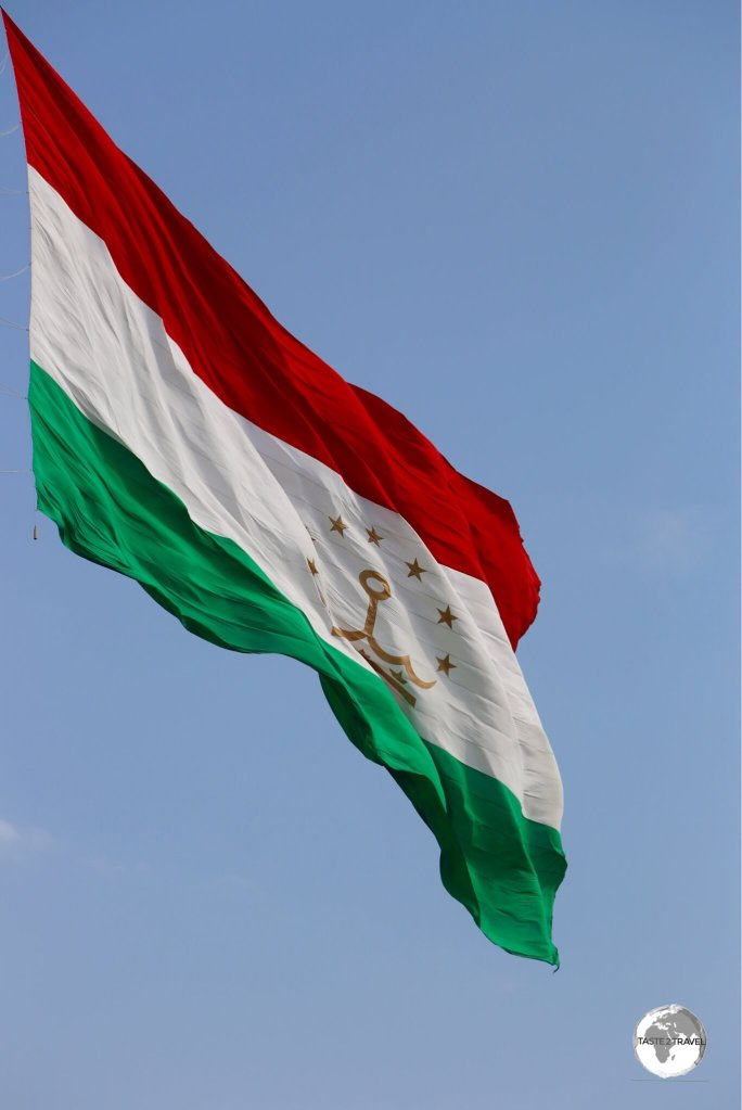 The giant 350-kg flag of Tajikistan, flying in downtown Dushanbe. The flag measures 60 m X 30 m.