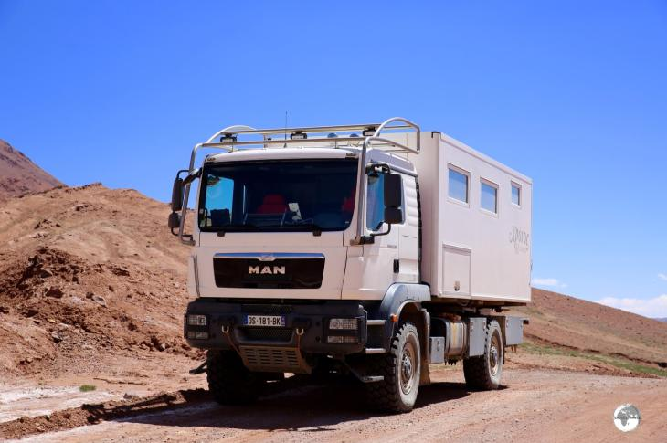 A French couple were driving this comfortable beast along the Pamir highway. A very nice way of cruising the rough roads of Tajikistan - if you can afford the investment!