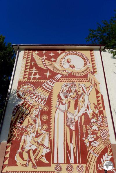 A Soviet-era mural in Samarkand.