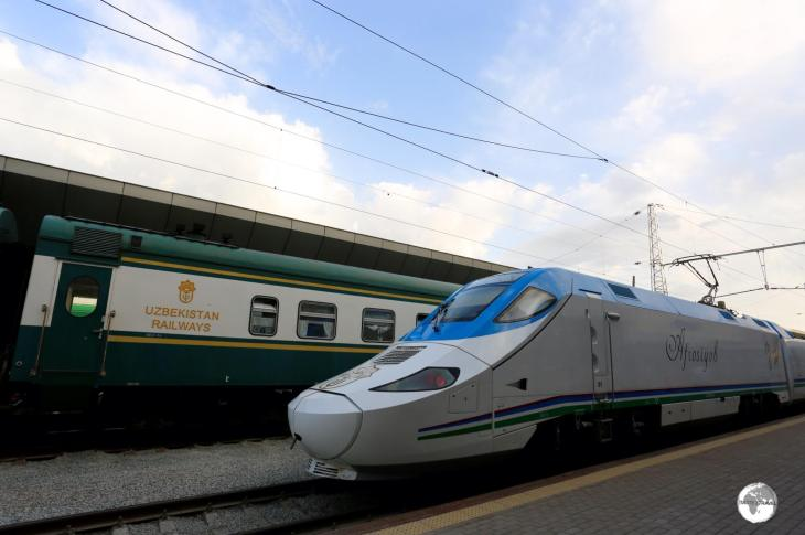 The sleek, modern and fast 'Afrosiyob' train stands in stark contrast to the older, slower trains of Uzbekistan Railways.