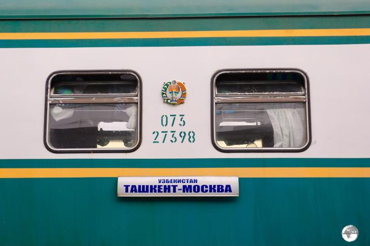 The Tashkent to Moscow train at Tashkent station.