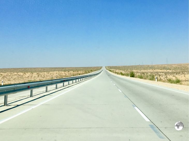 View of the excellent highway which connects Bukhara to Khiva.