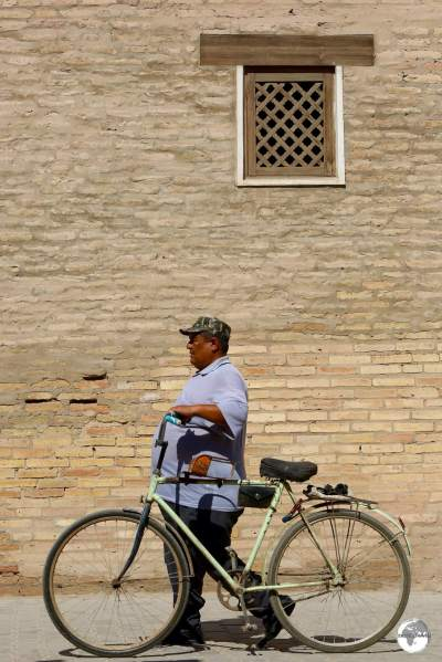 An Uzbek walking through Khiva old town.