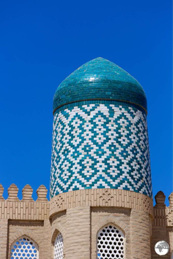Detail of the minaret at the Kunya Ark citadel in Khiva.