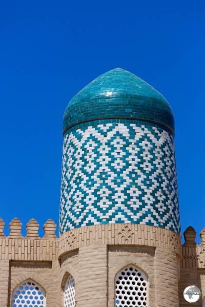Detail of the minaret at the Kunya Ark citadel in Khiva.