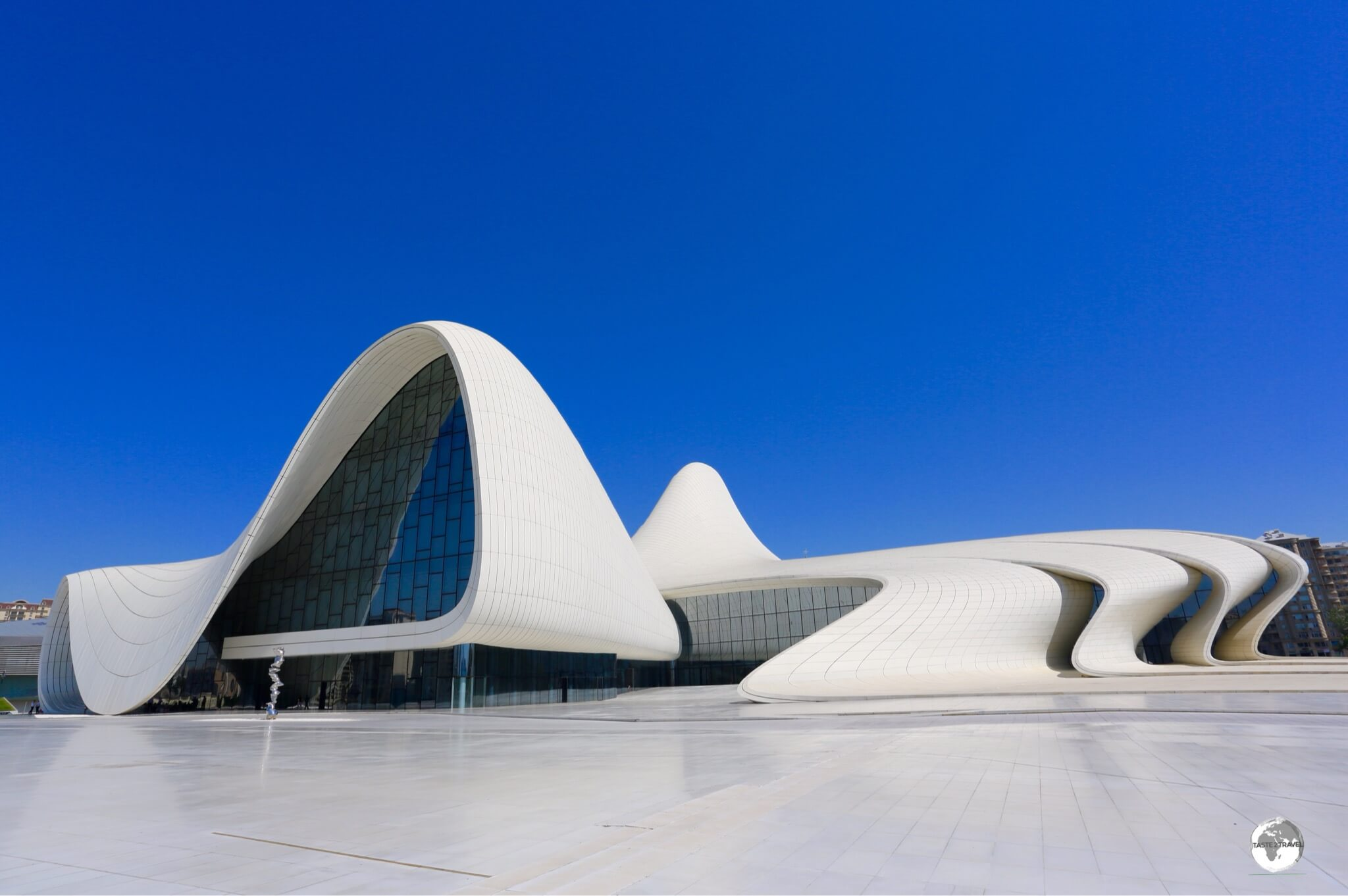 The jaw-droppingly beautiful, and totally original, Heydar Aliyev Centre was designed by Zaha Hadid.